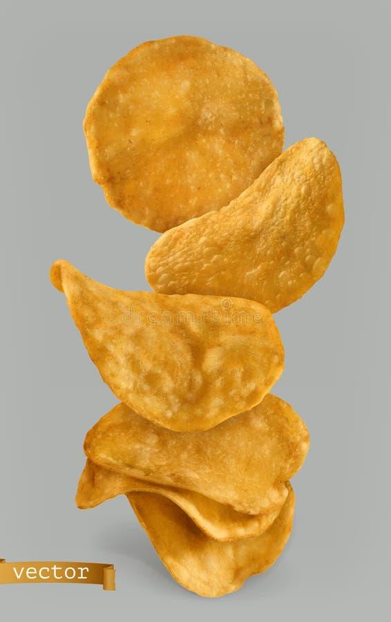 Pommes chips, design d'emballage vecteur 3d illustration stock