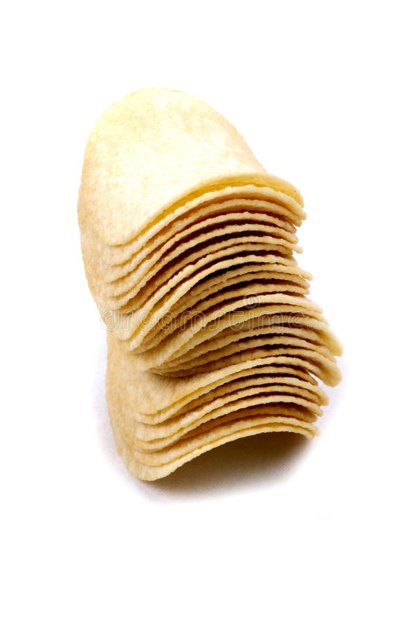 Pommes chips (frites) sur un fond blanc photo libre de droits