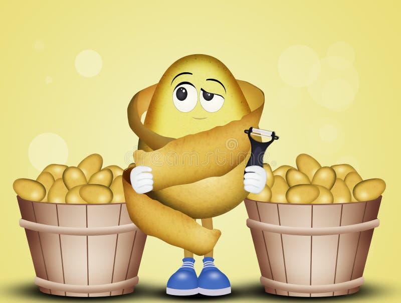 Pommes de terre épluchées drôles illustration libre de droits