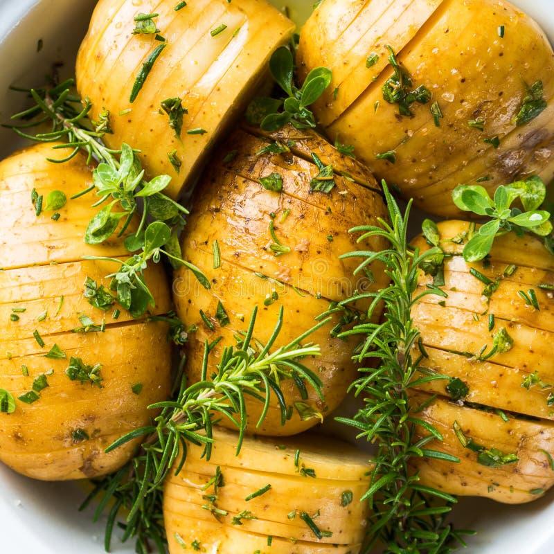 Pommes de terre crues à faire cuire avec des herbes image libre de droits