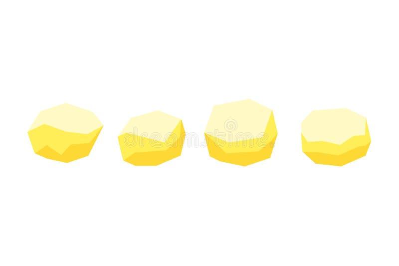 Pommes de terre crues épluchées, icônes plates de vecteur pour le décor de nourriture illustration libre de droits