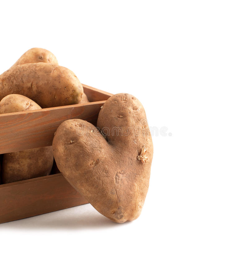 Pommes de terre crues dans la boîte en bois images libres de droits