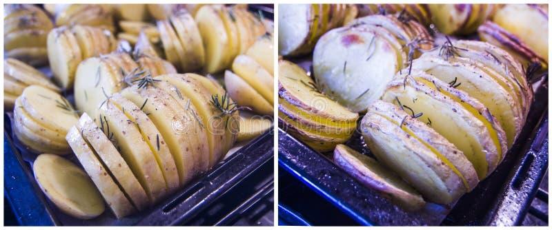 Pommes de terre cuites au four avec le romarin et le pétrole : cru et cuit photo libre de droits