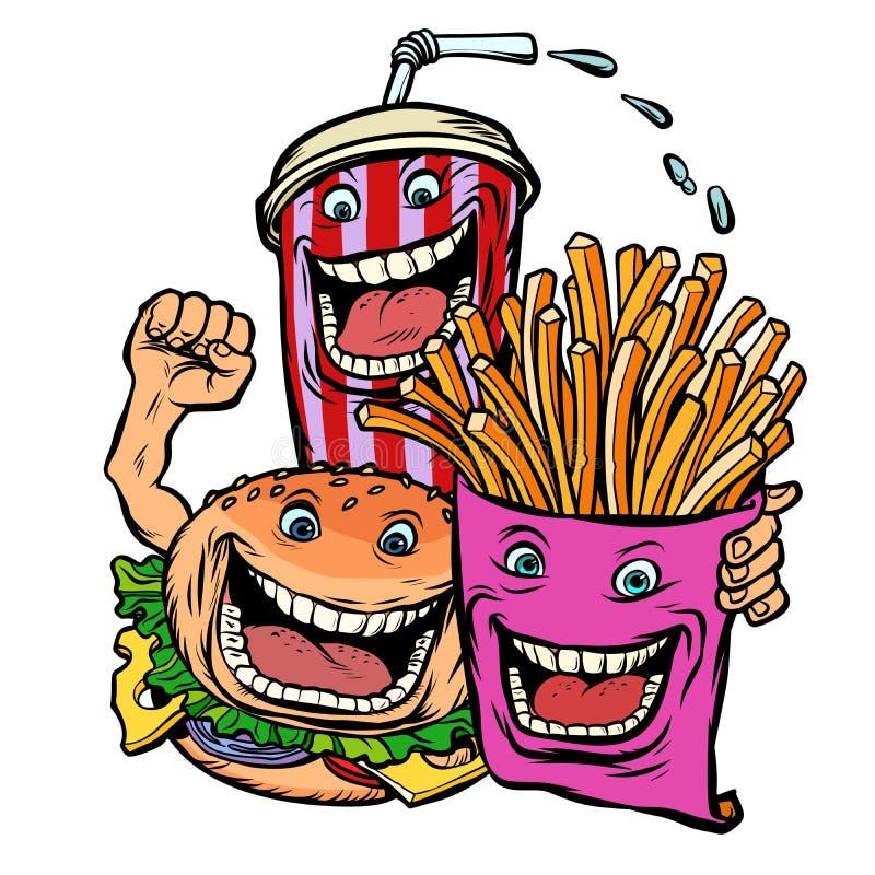 Pommes de terre de fritures de boissons de kola d'hamburger déjeuner d'amis de caractères d'aliments de préparation rapide illustration de vecteur