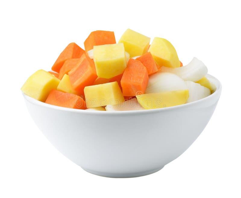 Pommes de terre, oignons et carottes découpés photographie stock libre de droits