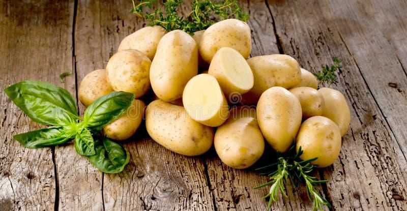 Pommes de terre organiques crues fraîches sur le vieux fond de vintage photos stock