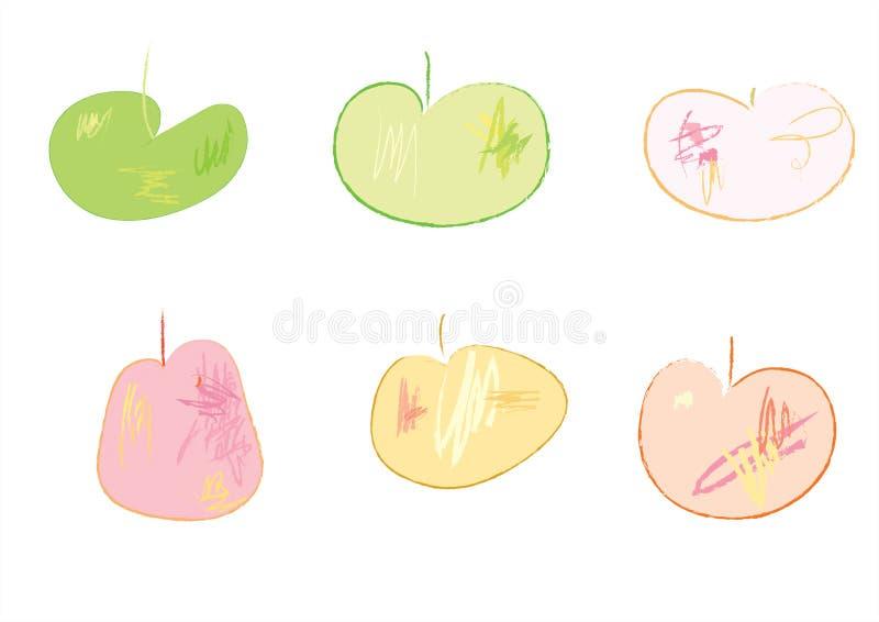 Pommes de vecteur de couleur en pastel image libre de droits