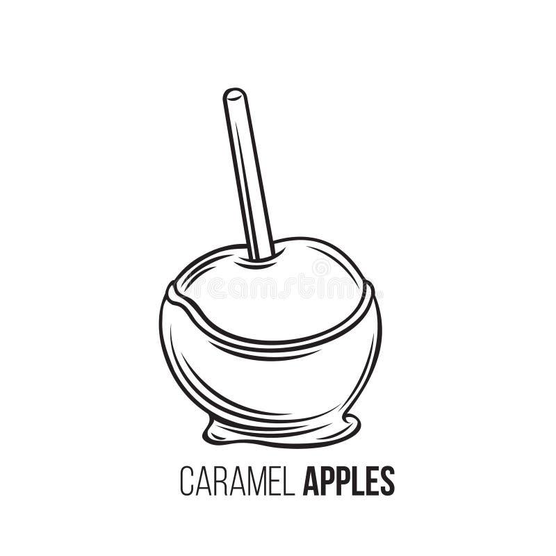 Pommes en caramel illustration de vecteur