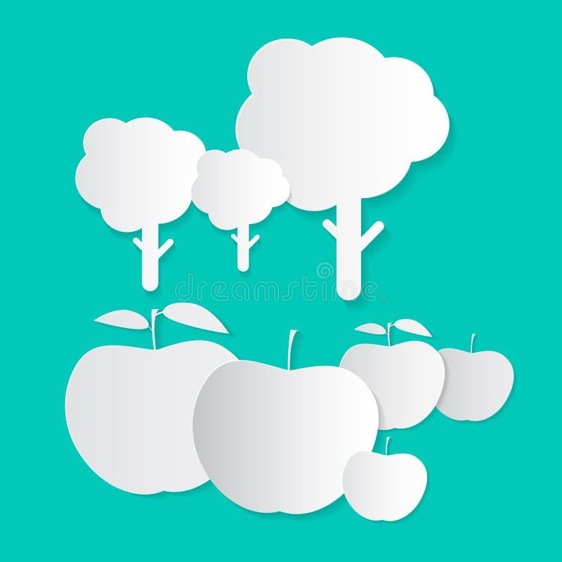 Pommes et arbres de papier illustration libre de droits