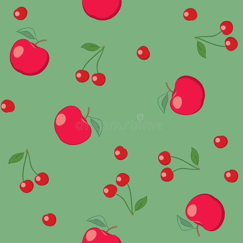 Pommes et cerises rouges sur le fond vert - vecteur sans couture illustration libre de droits