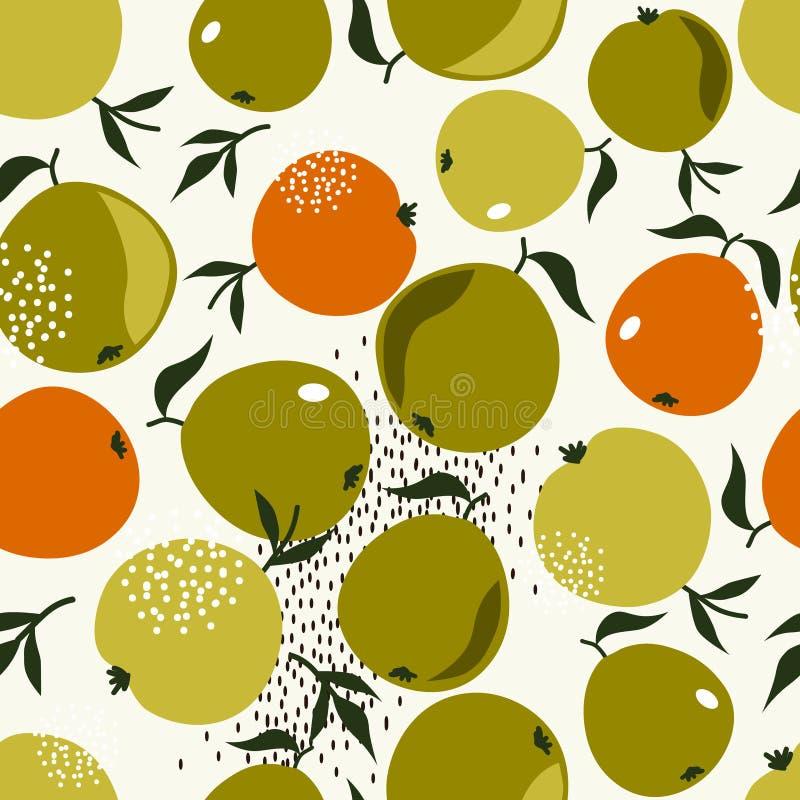 Pommes et feuilles, fond coloré Mod?le sans couture d?coratif avec des fruits illustration stock