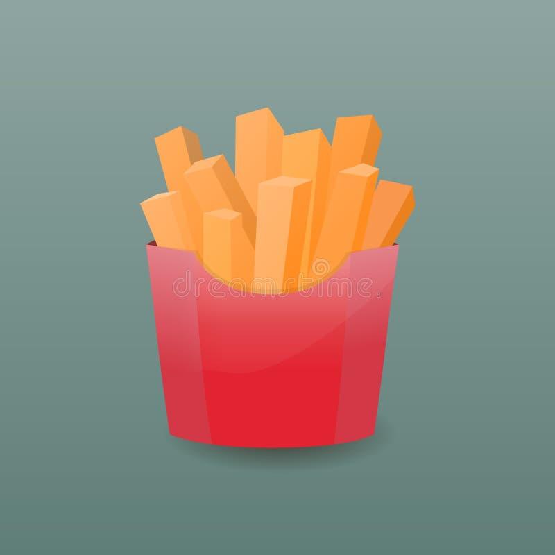 Pommes frites dans le cadre de papier Illustration de vecteur photo stock
