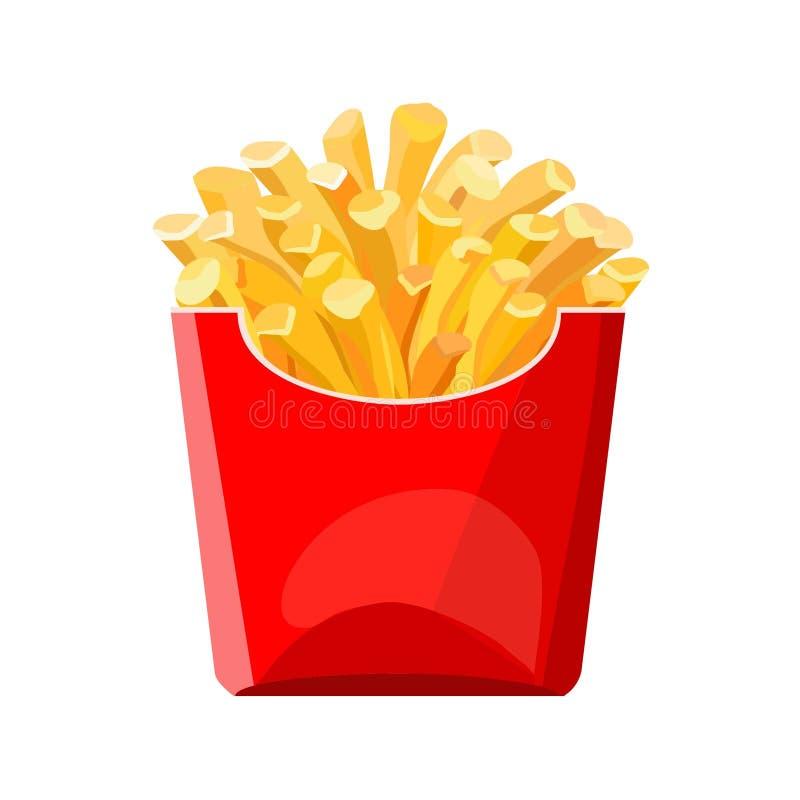 Pommes frites dans un sac rouge Aliments de préparation rapide illustration stock