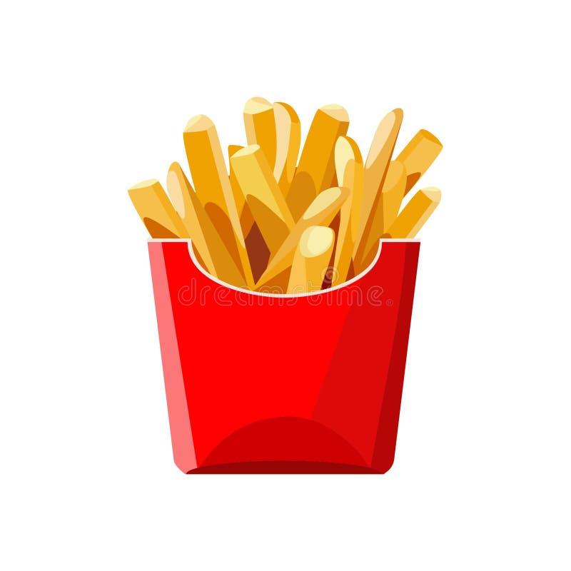 Pommes frites dans un sac rouge Aliments de préparation rapide Illustration d'isolement de vecteur illustration stock