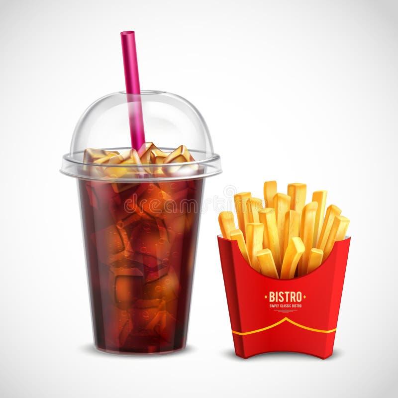 Pommes frites et Coca Cola illustration stock