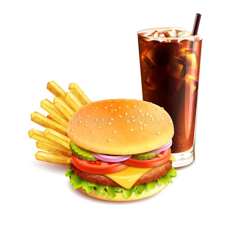 Pommes frites et kola d'hamburger illustration de vecteur
