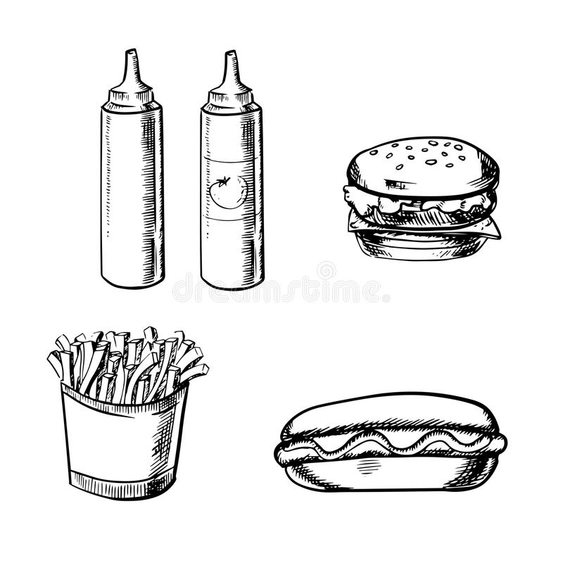 Pommes frites, hamburgare, varmkorv och smaktillsats stock illustrationer