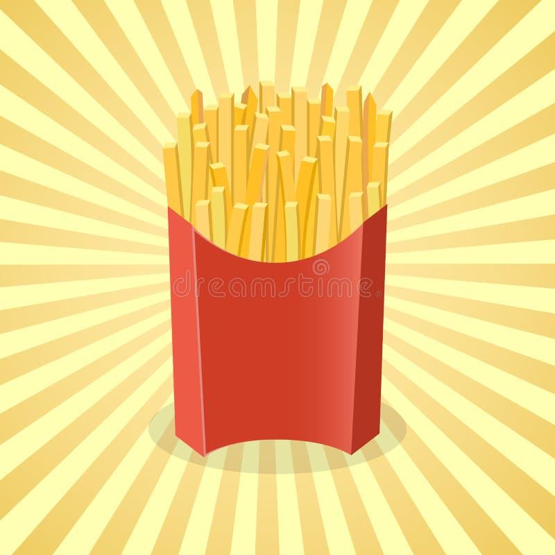 Pommes frites i den pappers- asken - gullig tecknad film färgad bild Beståndsdelar för grafisk design för menyn, förpacka som ann royaltyfri illustrationer
