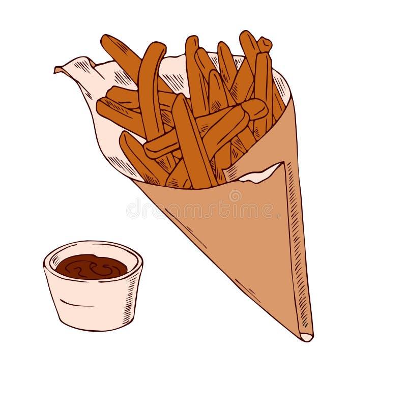 Pommes frites i en pappers- påse och en krus med ketchup Vektorn skissar stock illustrationer