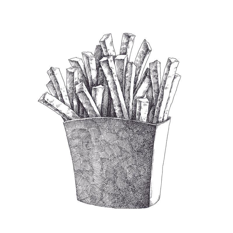 Pommes-Frites im Kartonkasten Gezeichnete Illustration des Vektors Hand von Fa lizenzfreies stockbild
