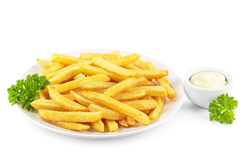 Pommes frites med mayonnaise arkivbilder