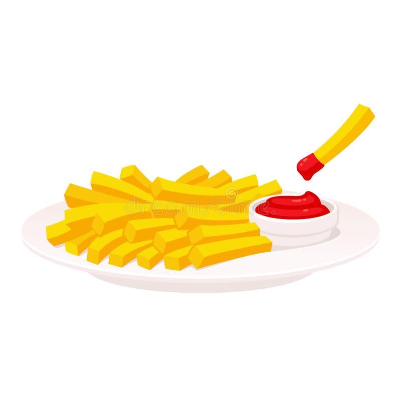 Pommes frites på plattan royaltyfri illustrationer