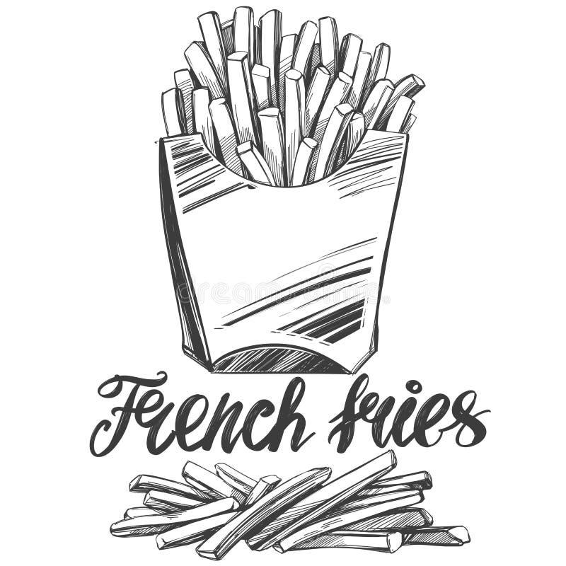 Pommes frites, prêt-à-manger, logo, et croquis réaliste dessiné d'illustration de vecteur illustration de vecteur