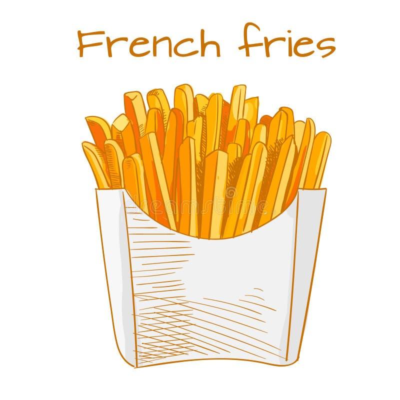 Pommes frites skissar, räcker den utdragna snabbmatVEKTORillustrationen Kulört skissa vektor illustrationer