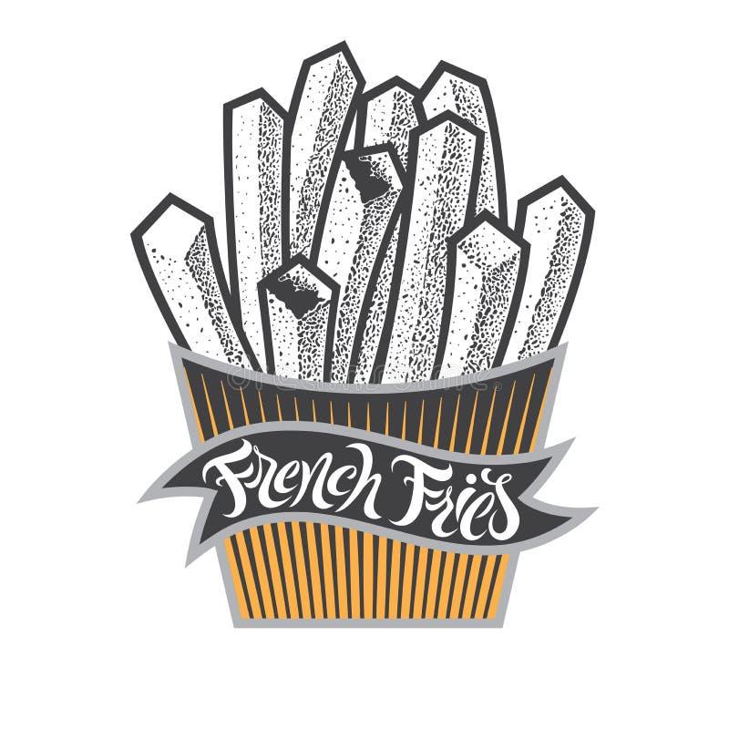 Pommes friteslogo eller symbol med bokstäver Gå i flisor snabbmat i pappers- ask Fsat mattappning isolerade vektorillustrationen  royaltyfri illustrationer