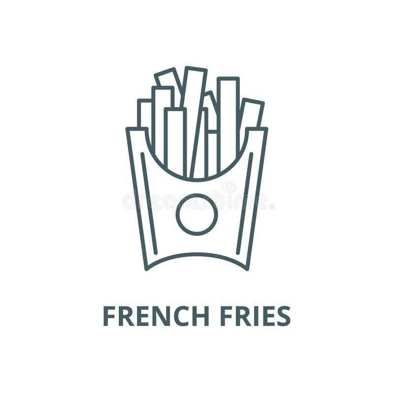 Pommes-Fritesvektorlinie Ikone, lineares Konzept, Entwurfszeichen, Symbol vektor abbildung