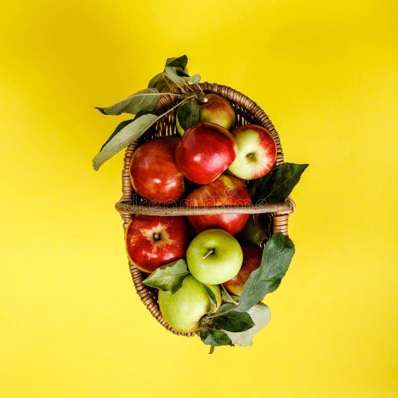 Pommes organiques dans le panier sur le fond jaune images libres de droits