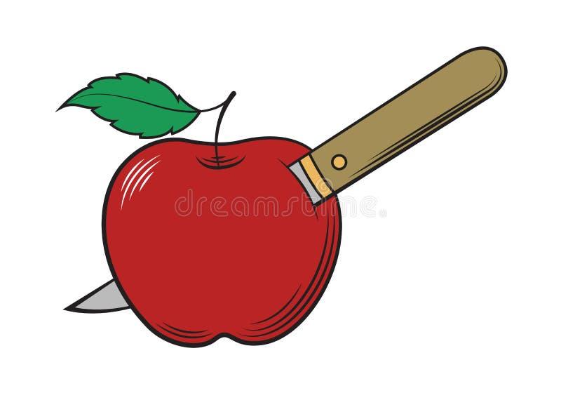 Pommes poignardées par couteau, vecteur illustration de vecteur