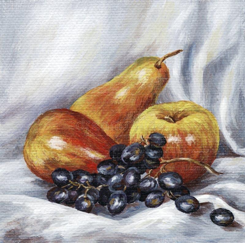 Pommes, poires, raisins illustration stock