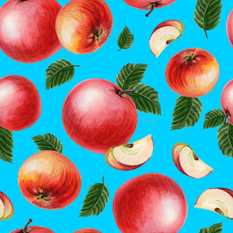 Pommes rouges avec des feuilles sur un fond bleu-clair Été, illustration d'automne illustration libre de droits