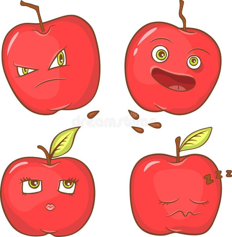 Pommes rouges avec des visages illustration libre de droits