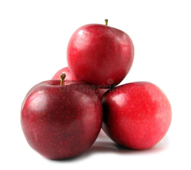 Pommes rouges sur le blanc photos stock