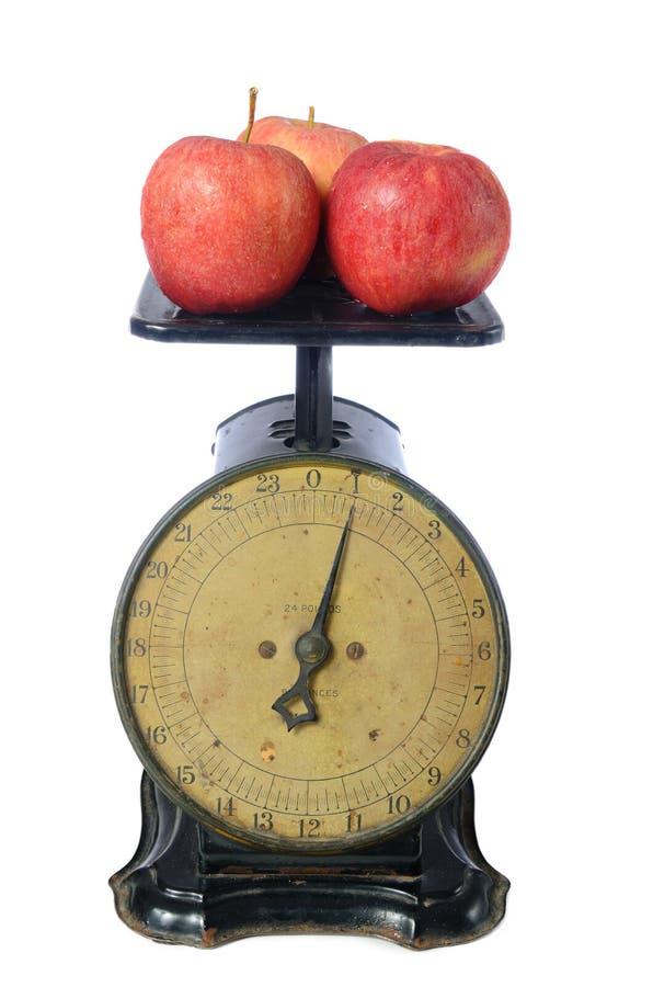 Pommes sur l'échelle de cru images stock