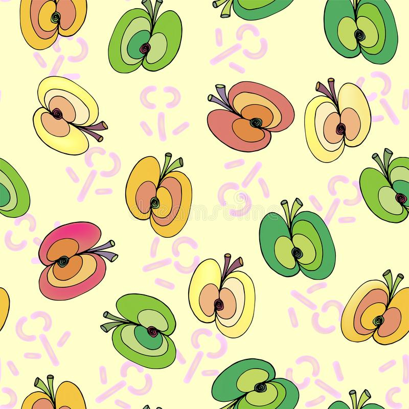 Pommes sur le modèle sans couture de fond floral illustration libre de droits