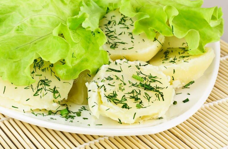 Pommes vapeur avec des lames de salade photos libres de droits