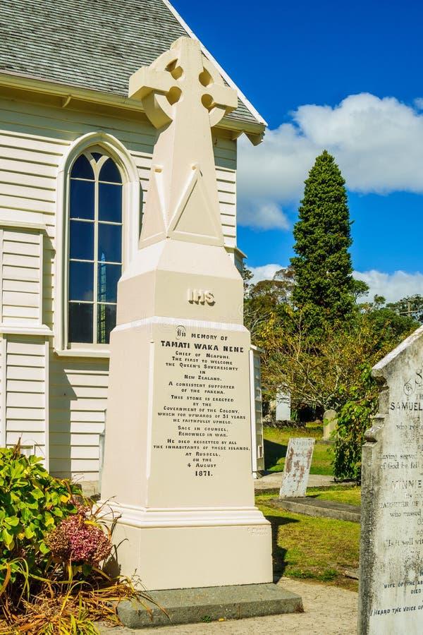 Pomnik dla Maoryjskiego lidera Tamati Waka Nene obraz stock