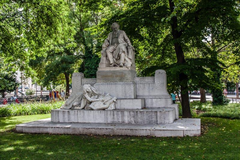 Pomnik Johannesa Brahmsa w Resselpark, Wiedeń zdjęcie royalty free
