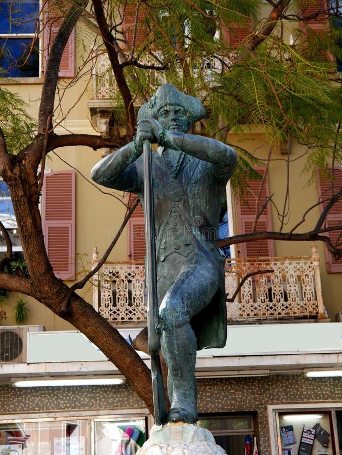 Pomnik Królewscy inżyniery na skale Gibraltar przy wejściem morze śródziemnomorskie obrazy stock