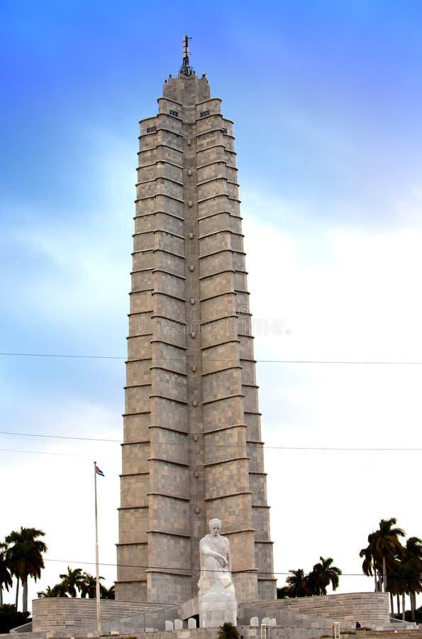 Pomnik Kubański bohater narodowy Jose Marti w Placu De Los angeles Revolucion i poeta hawański, Kuba rewolucja kwadrat () fotografia stock