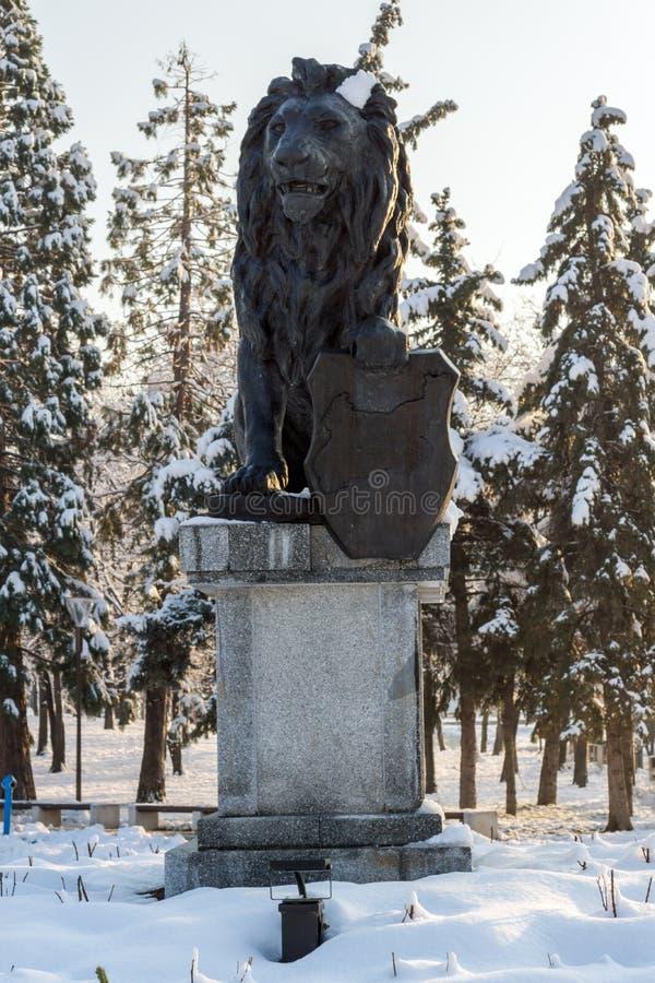 Pomnik Najpierw i szósty piechoty pułk w parku przed Krajowym pałac kultura obraz stock