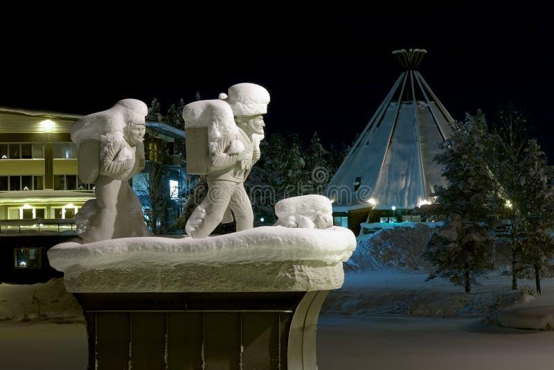 Pomnik osadnicy w Lycksele, Szwecja obraz royalty free