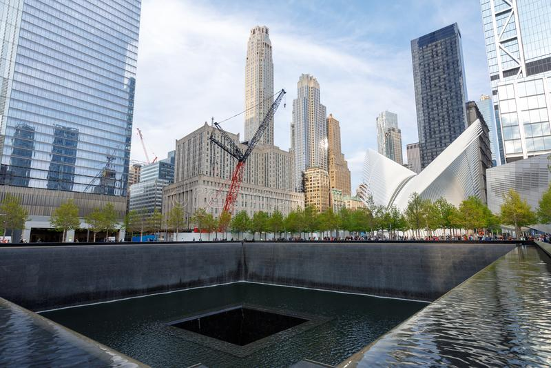 Pomnik przy world trade center punktem zerowym wybuchu fotografia stock
