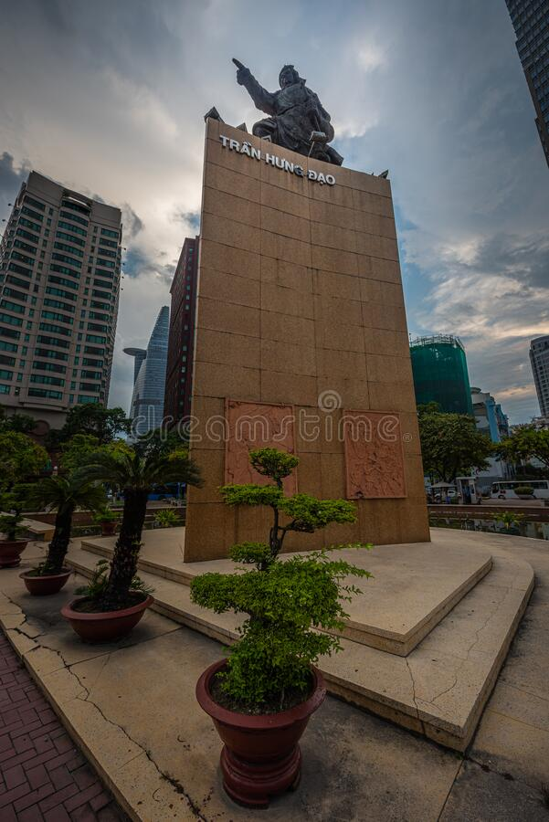 Pomnik przywódcy wojskowego Tran Hung Dao w Saigon, Wietnam zdjęcie stock