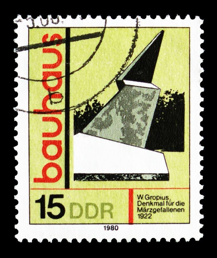 """Pomnik Spadać w marszu, Weimar, Artystyczny Stażowy """"Bauhaus"""" seria, około 1980 royalty ilustracja"""