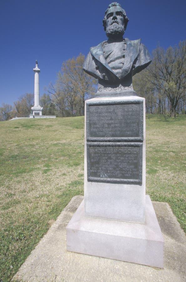 Pomnik USA generał brygady Marcellus M Crocker 1863, przy Vicksburg wojskowego Krajowym parkiem, MS obraz royalty free