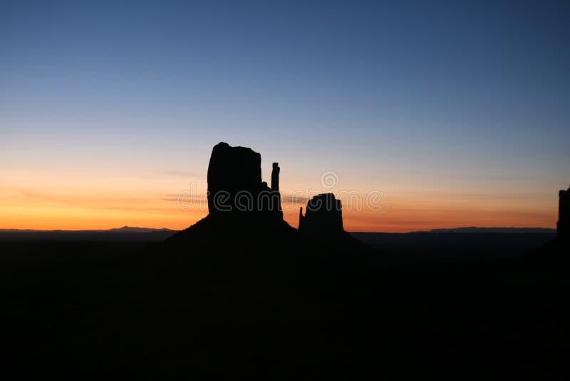 Pomnikowej doliny, Utah usa - zmierzch obraz stock
